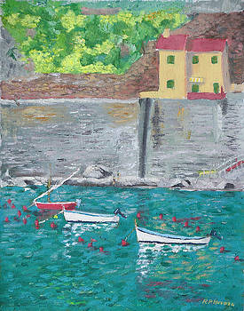 Cinque Terre Italy Vernazza Harbor by Robert P Hedden