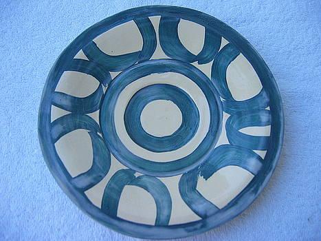 Circle-Motif Blue Plate by Julia Van Dine