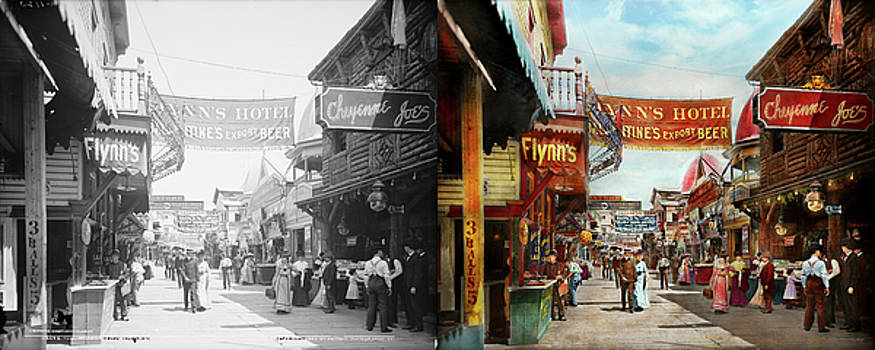 City - Coney Island NY - Bowery Beer 1903 - Side by Side by Mike Savad