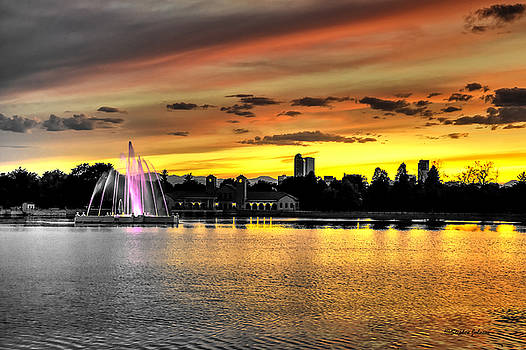 City Park Fountain Sunset by Stephen Johnson