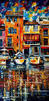 City Pier - PALETTE KNIFE Oil Painting On Canvas By Leonid Afremov by Leonid Afremov