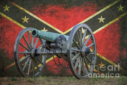 Civil War Cannon Rebel Flag by Randy Steele
