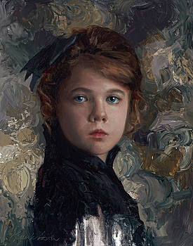 Classical Portrait of Young Girl in Victorian Dress by Karen Whitworth
