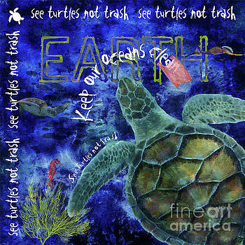 Clean Oceans Sea Turtle Art by Nola Lee Kelsey