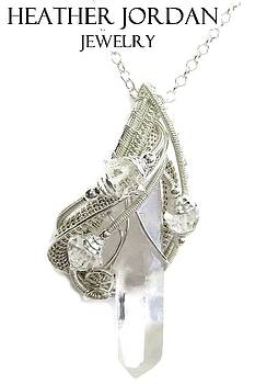 Clear Quartz Crystal Wire-Wrapped Pendant in Sterling Silver with Herkimer Diamonds w Chain - QPSS4 by Heather Jordan