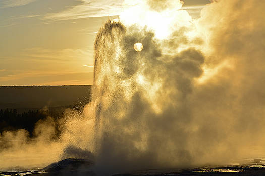 Clepsydra Geyser at Sunset by Bruce Gourley