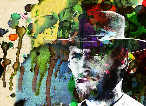 Clint Cowboy Art Abstract by Robert R Splashy Art Abstract Paintings