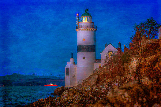 Cloch Lighthouse Gourock With Texture by Tylie Duff
