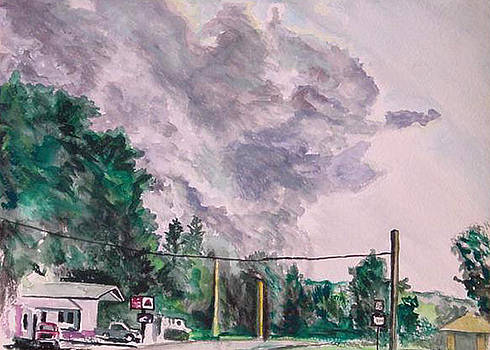 Clouds and Gas Station by George Grace