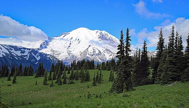 Clouds clearing at Mount Rainier by Lynn Hopwood