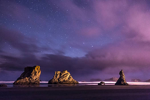 Clouds Clearing to Reveal the Night Skies Over Bandon by Kristal Talbot