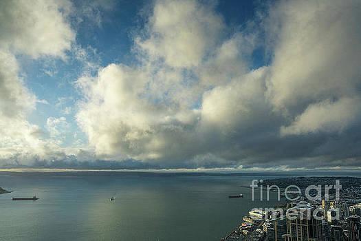 Clouds Skies Reflected Over Elliott Bay by Mike Reid