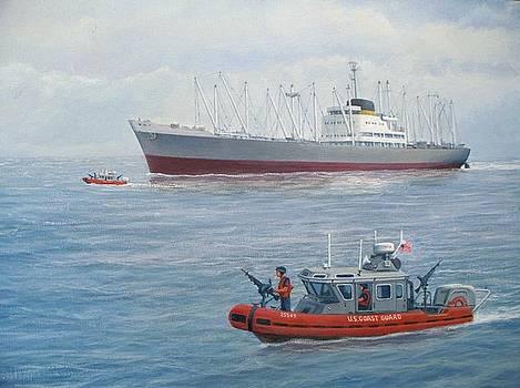 Coast Guard Escort - Delaware River by William H RaVell III