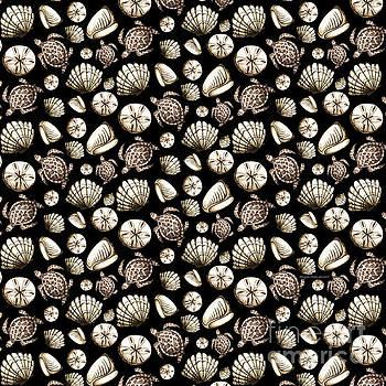Coastal Pattern Seashells And Turtles Sepia on Black by Megan Duncanson by Megan Duncanson