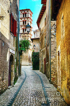 Cobblestone Street in a Medieval Town of Sermoneta by George Oze