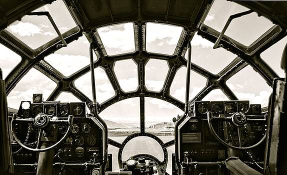 Cockpit View of B-29 Bomber Airplane by Amy McDaniel