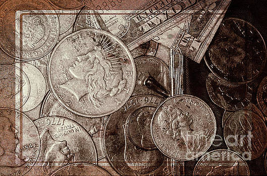 Coins and Bills with Texture by Kathleen K Parker