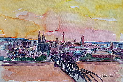 Cologne Skyline with Deutz Bridge and Rhine II  by M Bleichner