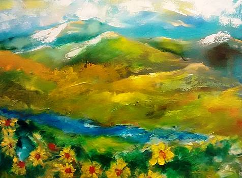 Colorado Mountains and Sunflowers by Patricia Taylor