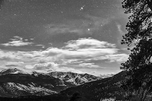 Colorado Rocky Mountain Evening View in Black and White by James BO Insogna