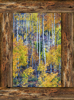 James BO Insogna - Colorful Auumn Forest Rustic Cabin Window Portrait View