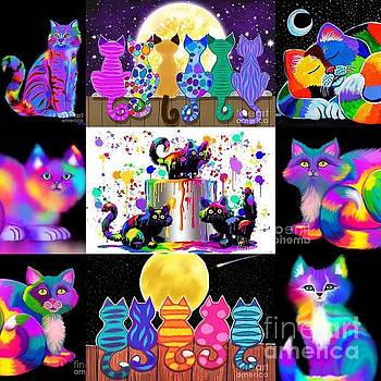 Nick Gustafson - Colorful Cat Collage