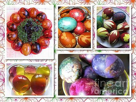 Colorful Easter Eggs Collage 07 by Ausra Huntington nee Paulauskaite