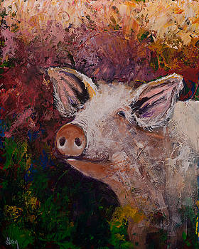 Colorful Expressionist Pig Pakket Knife Painting by Gray Artus