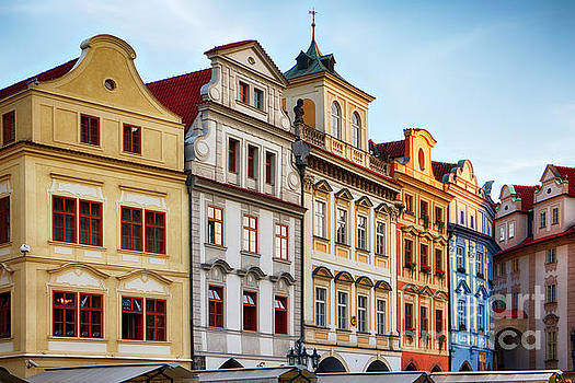 Colorful Houses on Old Town Square in Prague by George Oze