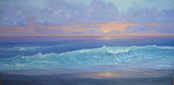 Colorful Sunset Seascape Beach Painting With Wave by Amber Palomares