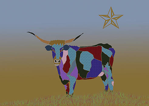 Colorful Texas Longhorn Cow by Kate Farrant