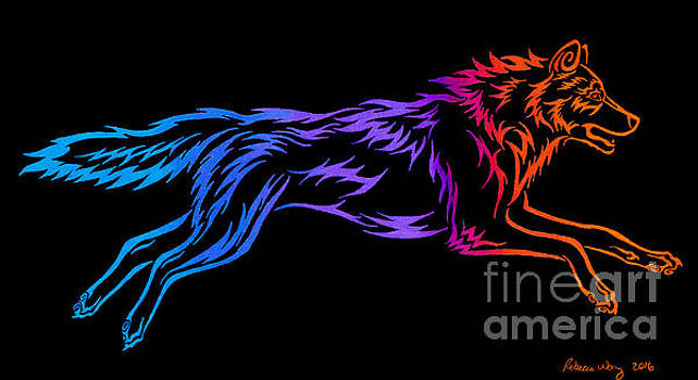 Colorful Tribal Wolf by Rebecca Wang