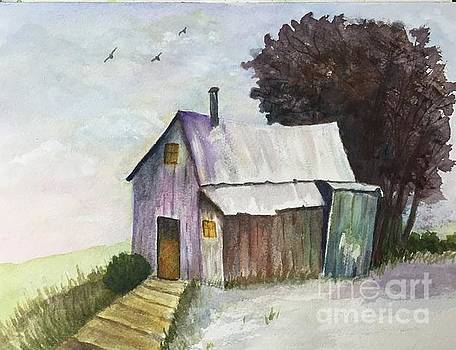 Colorful Weathered Barn by Lucia Grilletto