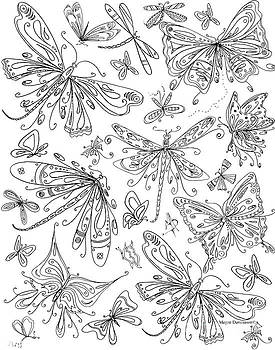 Coloring Page for Adults Butterflies and Dragonflies by MADART by Megan Duncanson
