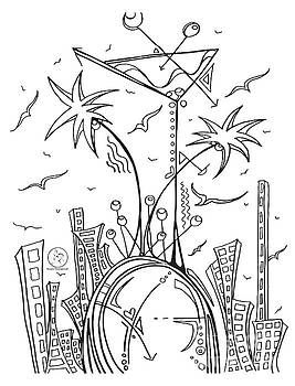 Coloring Page With Beautiful City Martini Drawing By Megan Duncanson by Megan Duncanson