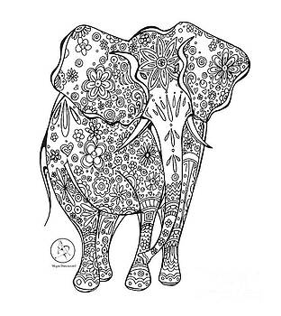Coloring Page With Beautiful Elephant Drawing By Megan Duncanson by Megan Duncanson
