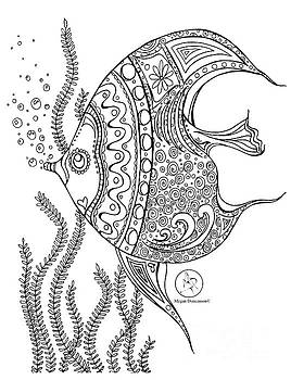 Coloring Page With Beautiful Fish Drawing By Megan Duncanson by Megan Duncanson
