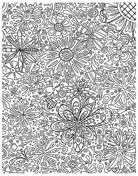 Coloring Page With Beautiful In The Garden 6 Drawing By Megan Duncanson by Megan Duncanson