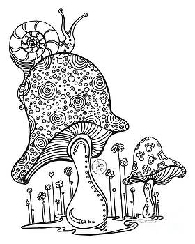 Coloring Page With Beautiful Mushroom and Snail Drawing By Megan Duncanson by Megan Duncanson