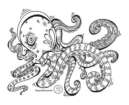 Coloring Page With Beautiful Octopus Drawing By Megan Duncanson by Megan Duncanson