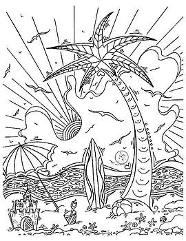 Coloring Page With Beautiful Tropical Surf Island Drawing By Megan Duncanson by Megan Duncanson