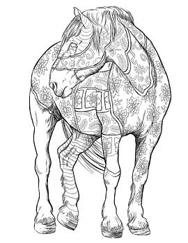 Coloring Poster Horses by Cindy Elsharouni