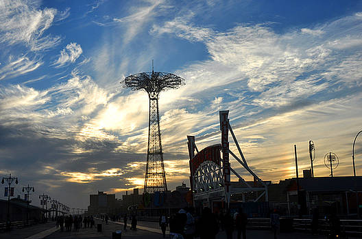 Coney Island Boardwalk at sunset by Diane Lent