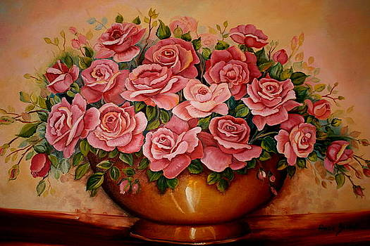 Coppperpot Full Of Roses by Ansie Boshoff