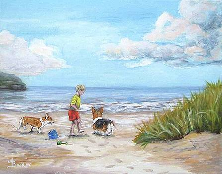Corgi Seaside Play by Ann Becker
