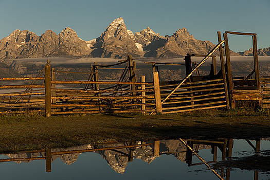 Corral and Grand Teton Range Teton County WY by Troy Montemayor