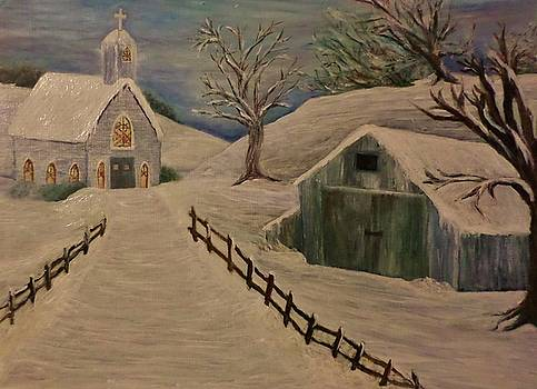 Country Church in the Snow by Christy Saunders Church
