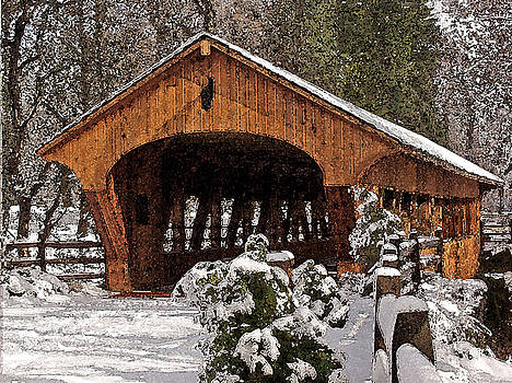 Covered Bridge At Olmsted Falls-Winter-2 by Mark Madere