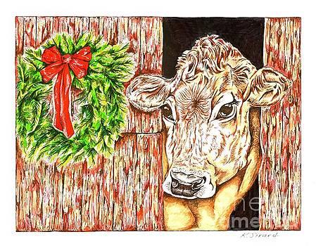 Cow in Barn by Karen Sirard