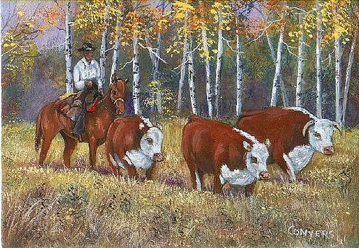 Cowboy and Cows by Peggy Conyers